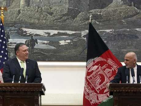 Afghan President Ashraf Ghani, right, speaks during, a press conference with US Secretary of State Mike Pompeo. Picture: AP