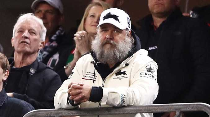 Rabbitohs co-owner Russell Crowe watches on during the win over the Eels. Picture: Getty Images