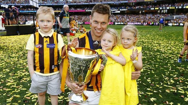 Sam Mitchell celebrates Hawthorn's 2015 premiership with his kids. Picture: Michael Klein