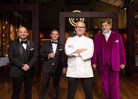 Heston Blumenthal will set MasterChef's 2018 grand final challenge. Pictured with hosts George Calombaris, Gary Mehigan and Matt Preston.