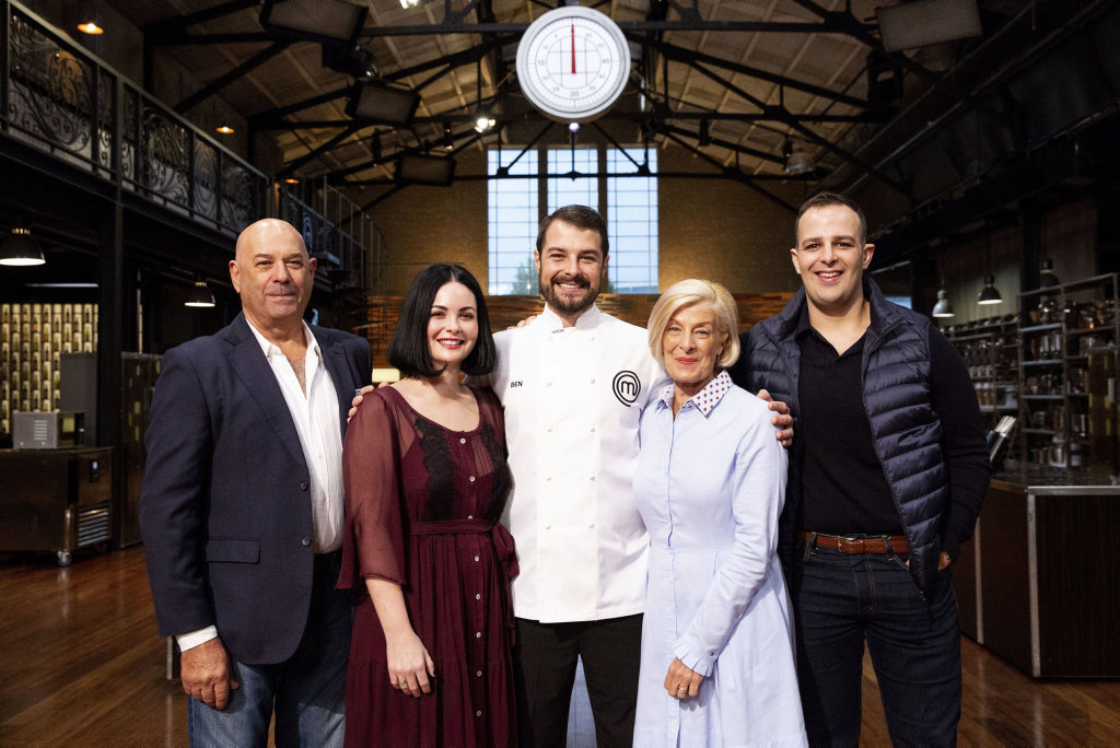 MasterChef finalist Ben Borsht, centre, with his family, from left, dad Peter, wife Caitlyn, mum Steph and brother Nick.