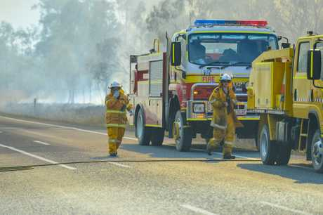 A bushfire closed the Bruce Highway and train line between Mount Larcom and Ambrose on Monday afternoon.