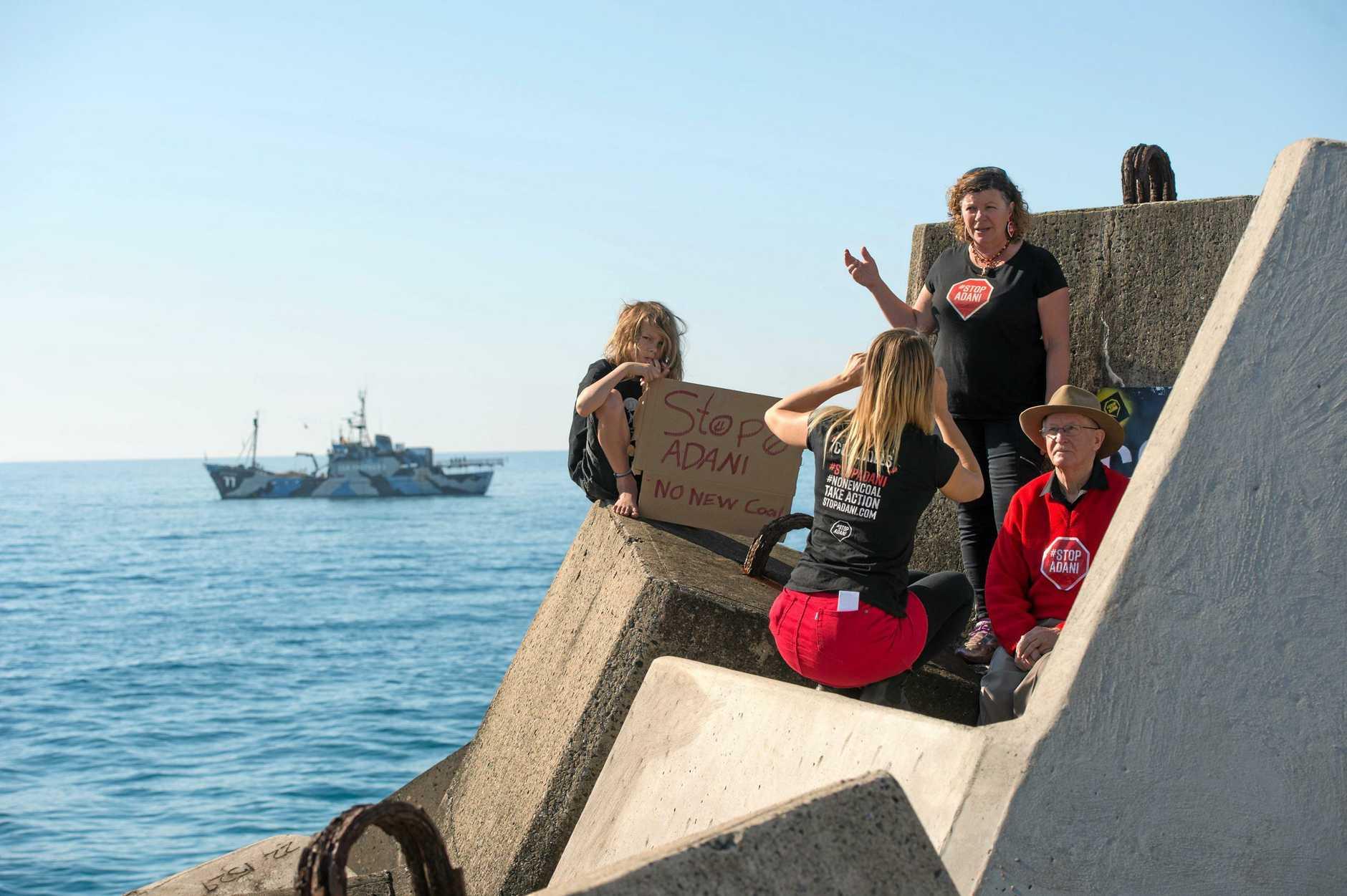 Sea Shepherd's Steve Irwin off Coffs harbours south wall.. 24 JULY 2018