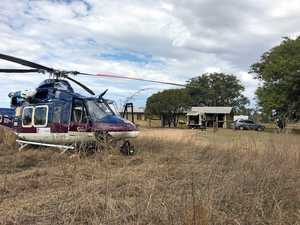 Man airlifted to hospital after slicing leg with grinder