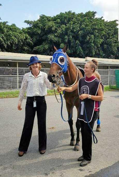 Trainer Krystle Johnston and strapper Alice Gillins with Craiglea Deken.