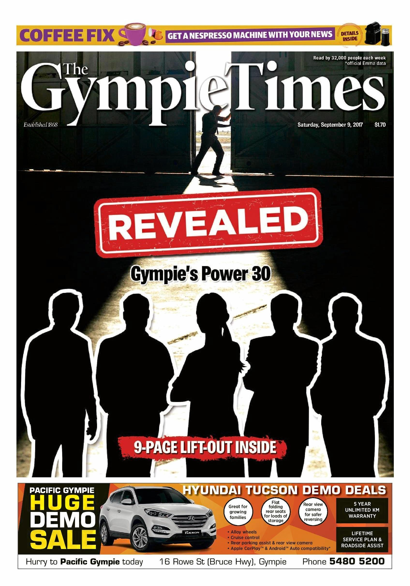 The front page of The Gympie Times in 2017 when the full Power 30 list was revealed.