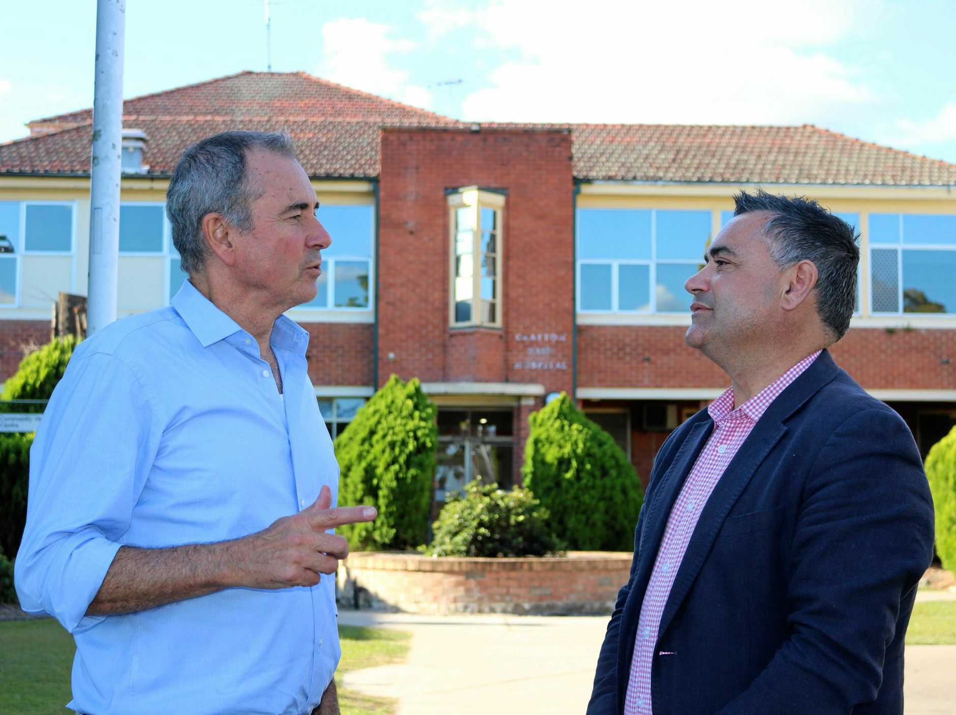 Local MP Chris Gulaptis pictured with Deputy Premier John Barilaro outside Grafton Base Hospital. Mr Barilaro is one of the members of the government who must agree to putting the $263.8 million hospital spend into the budget.