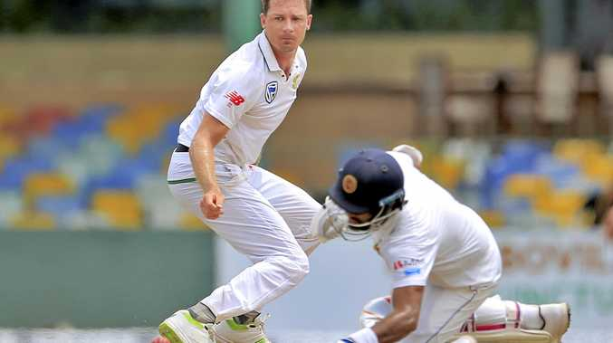 South Africa's Dale Steyn watches Sri Lanka's Dimuth Karunaratne successfully dive to make it to the crease during the first day's play of the second Test in Colombo on July 20. Picture: Eranga Jayawardena/AP