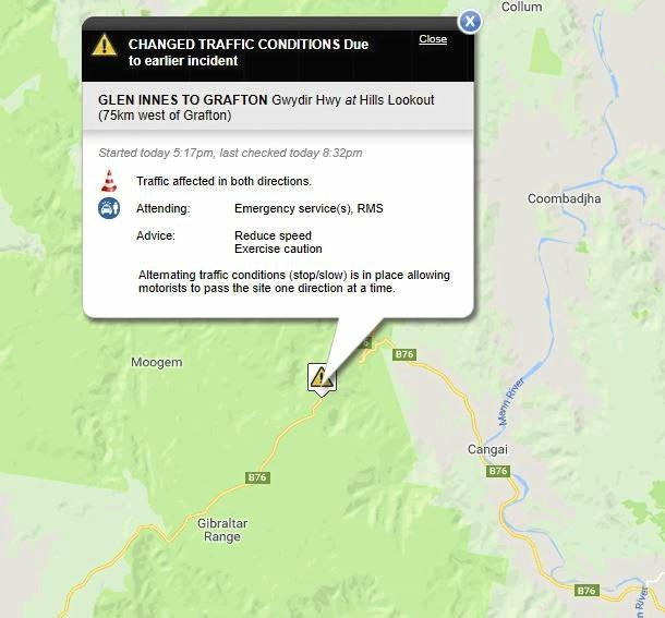 Live traffic report of the truck fire west of Grafton.