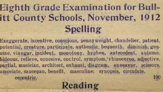 Bullitt County Schools 1912 eighth grade exam. Picture: Bullitt County