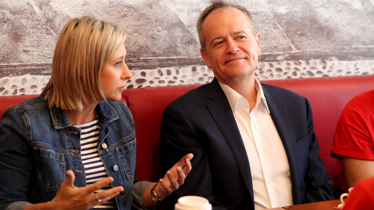 Labor leader Bill Shorten with Susan Lamb who won the seat of Longman for a second time. Picture: Liam Kidston