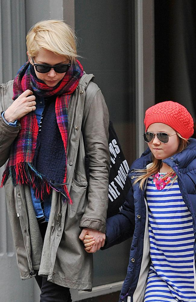 Michelle Williams and her daughter Matilda Ledger as seen on March 6, 2013 in New York. Picture: NCP/Star Max/FilmMagic.