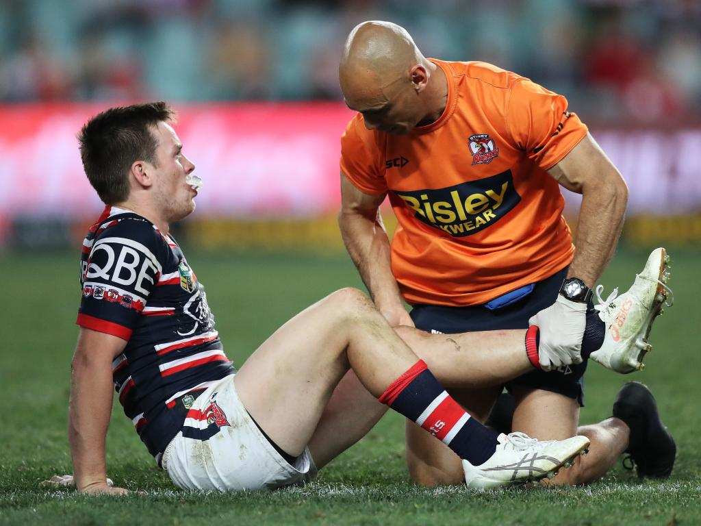 The Roosters must play without Luke Keary for 3-4 weeks after the five-eighth injured his knee playing the Dragons in round 20. Picture: Brett Costello