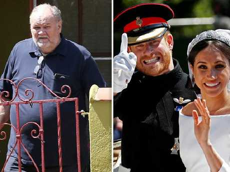 Thomas Markle and, at right, Harry and Meghan on their wedding day.