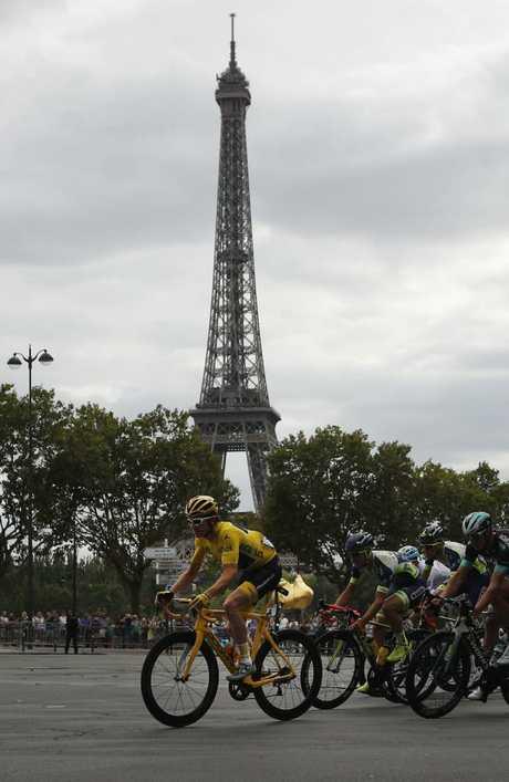 Tour de France winner Britain's Geraint Thomas passing another French landmark. (AP Photo/Francois Mori)