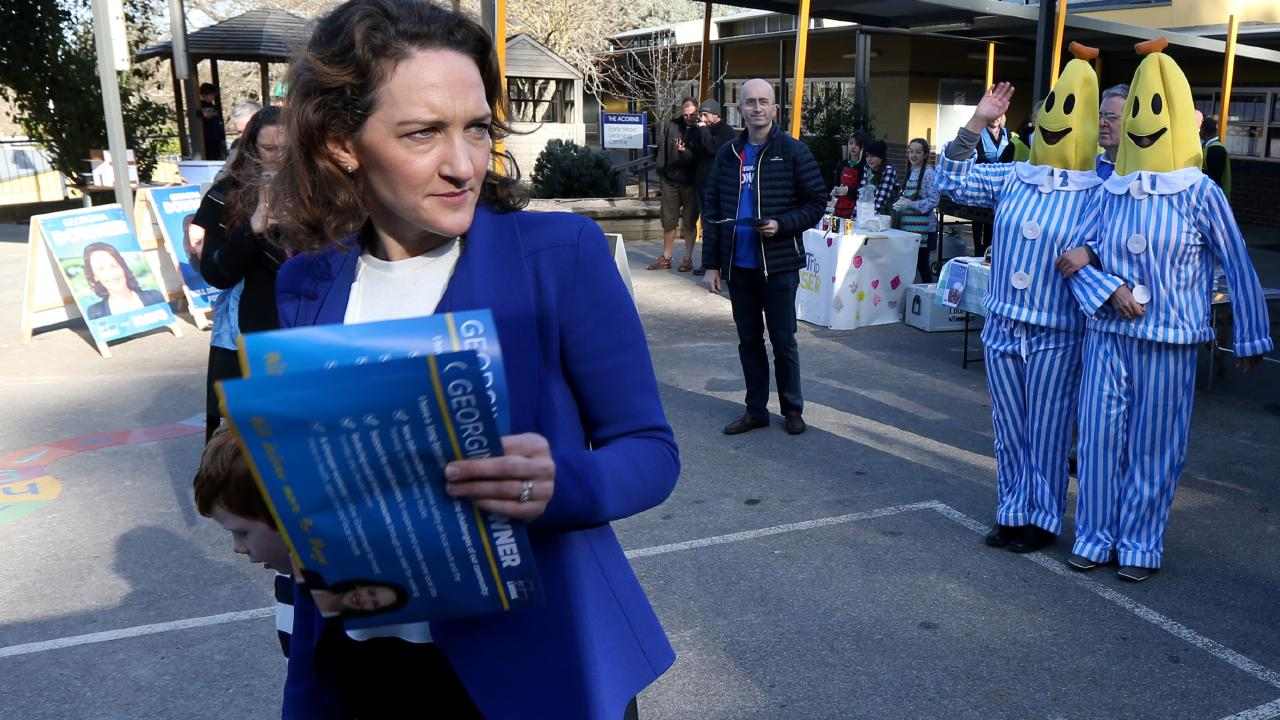 Volunteers dressed as the Bananas in Pyjamas from activist group GetUp! following Liberal candidate Georgina Downer at a polling booth in Stirling. Picture: AAP
