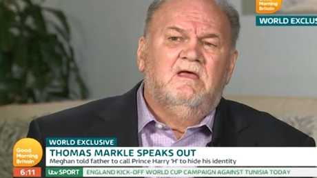 Thomas Markle gave his first interview since Meghan and Harry's wedding to Good Morning Britain. Picture: ITV