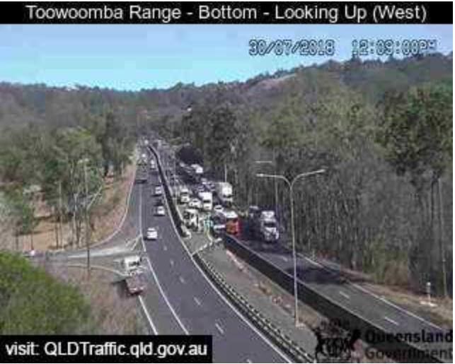 Traffic on the Toowoomba Range.