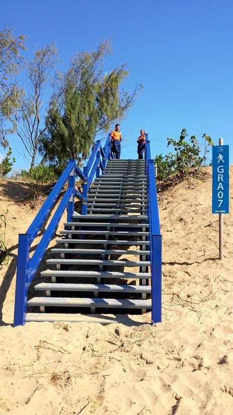 One of the recycled stairways at Grasstree Beach.