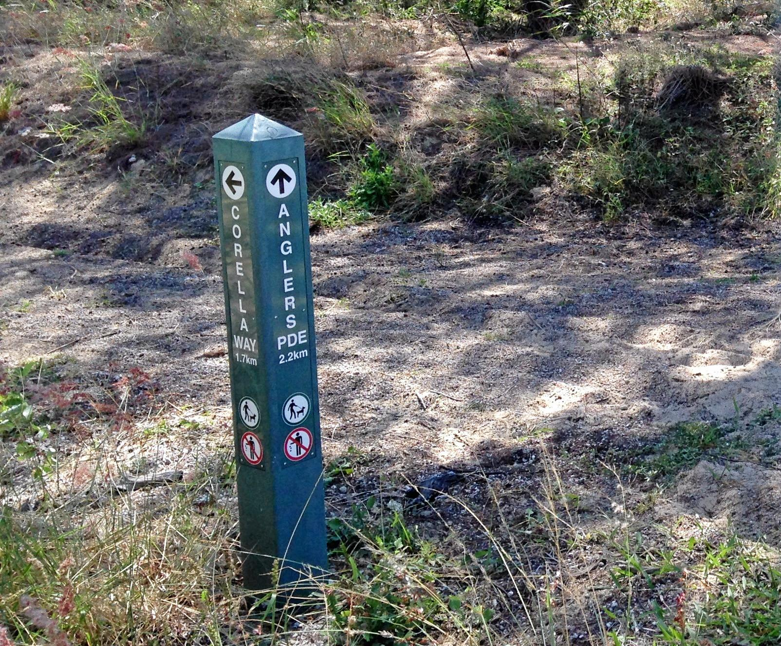 A recycled plastic directional sign at Blacks Beach Spit.
