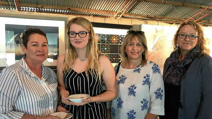 SCHOOL'S BACK: Tracey Staines, Kelsey Staines, Wendy Rhea and Janice McKee at the Begonia Art Show .