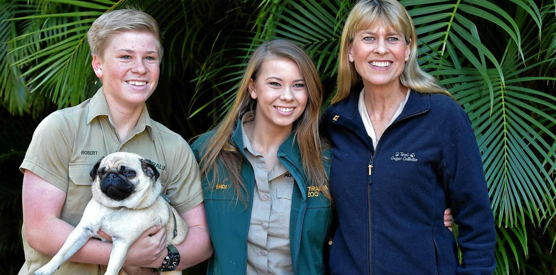 GRAB AN IRWIN BARGAIN: Robert, Bindi and Terri Irwin have contributed pre-loved goods to the Great Garage Sale at Australia Zoo.