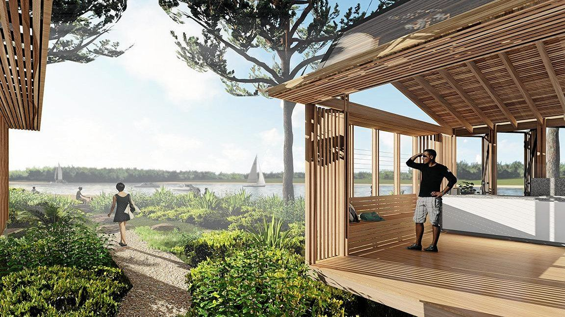 New cabins at Evans Head based on ESD principles are the first of their kind in the market of holiday park accommodation in NSW, artist impression.