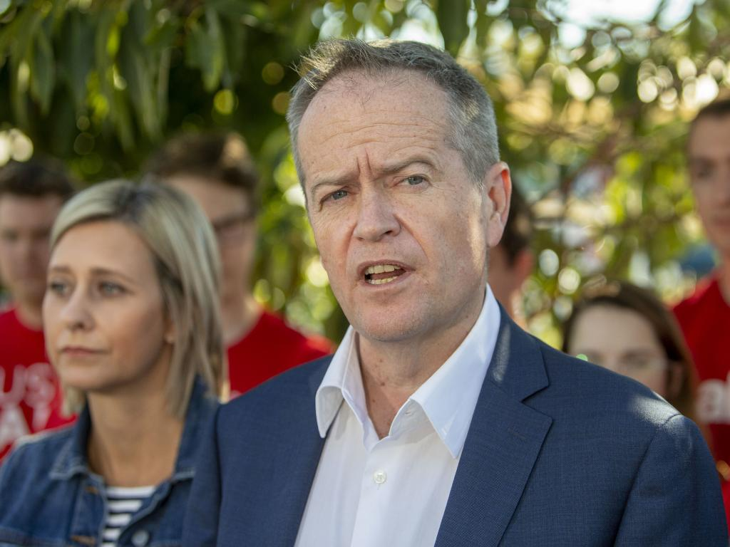 The Leader of the Opposition Bill Shorten speaks to media with newly elected member for Longman Susan Lamb. Picture: AAP Image/Glenn Hunt