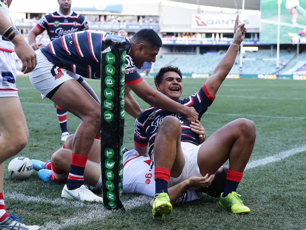 Roosters Latrell Mitchell celebrates after scoring a try during the Sydney Roosters v St George NRL match at Allianz Stadium, Sydney. Picture: Brett Costello