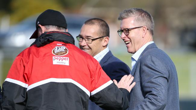 AFL footy operations manager Steven Hocking talks with Alan Richardson ahead of last week's rules trial at St Kilda training. Pic: Michael Klein