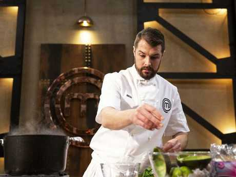 Ben Borsht whips up his seafood dish — but the judges were less than impressed.