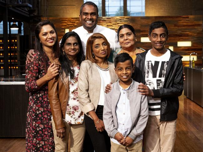 Masterchef Australia winner Sashi Cheliah with his proud family.