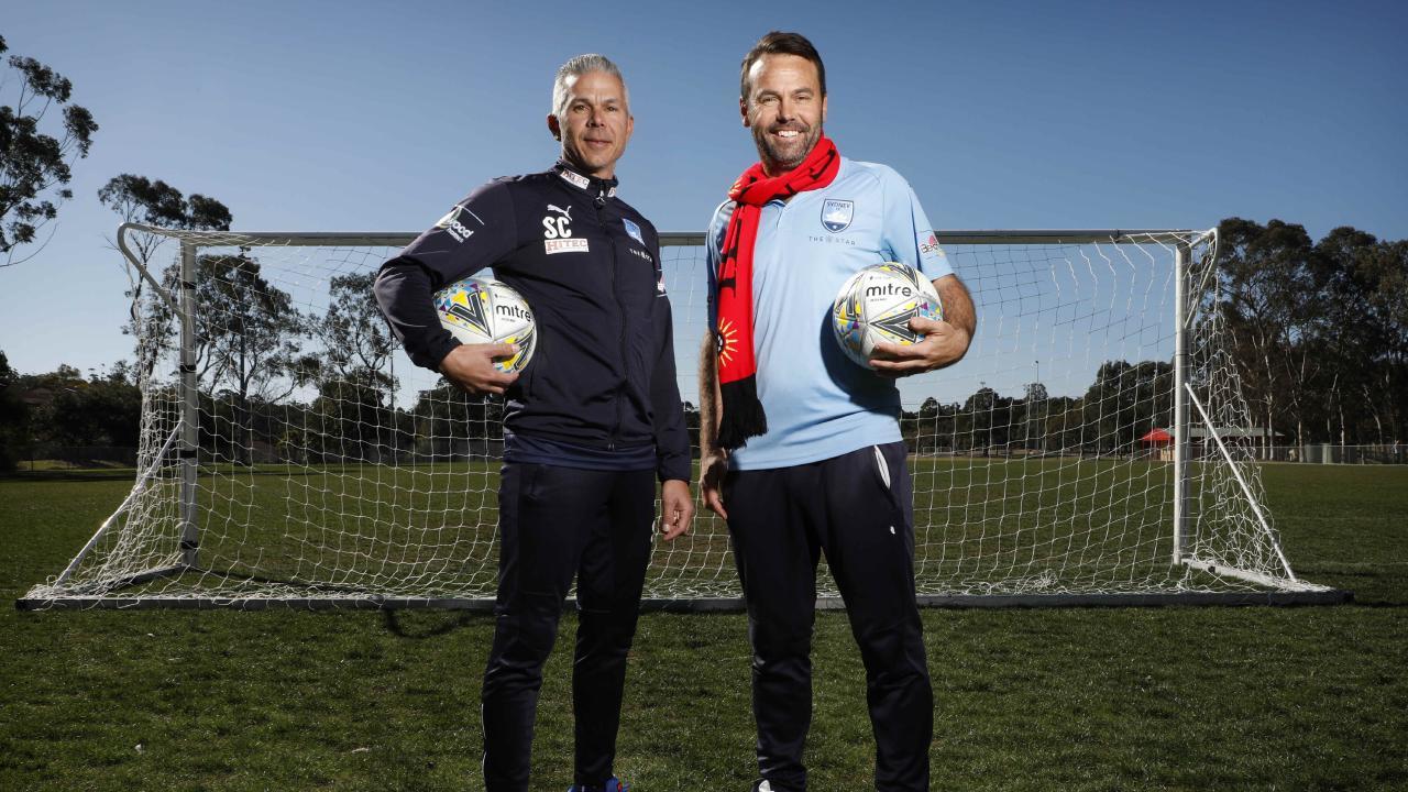 Sydney FC coach Steve Corica and Rockdale coach Paul Reid.