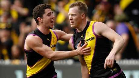 Jason Castagna, left, will be happy Jack Riewoldt is sticking around. Picture: Getty Images