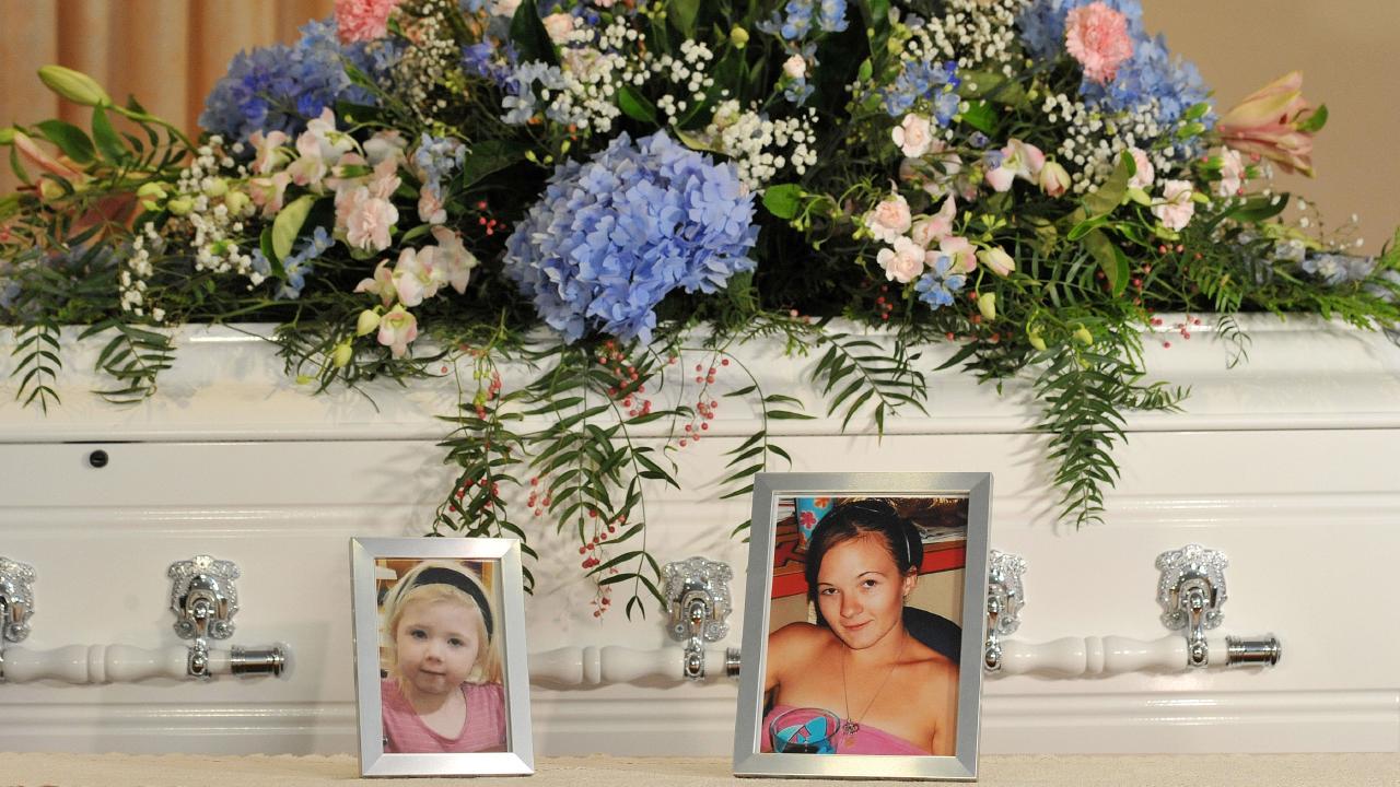 The casket of infant Khandalyce Pearce and her mother Karlie Pearce-Stevenson at the Alice Springs Desert Life Church on December 11, 2015.