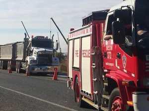 Truck, caravan collide
