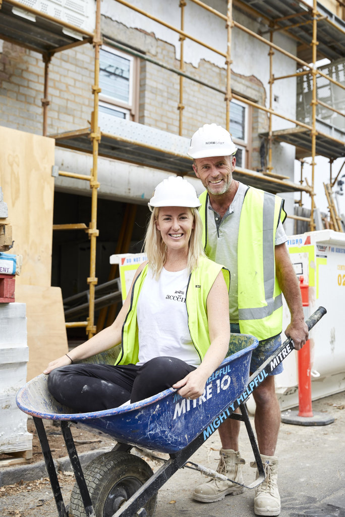 Jess Eva and Norm Hogan on The Block construction site in St Kilda.