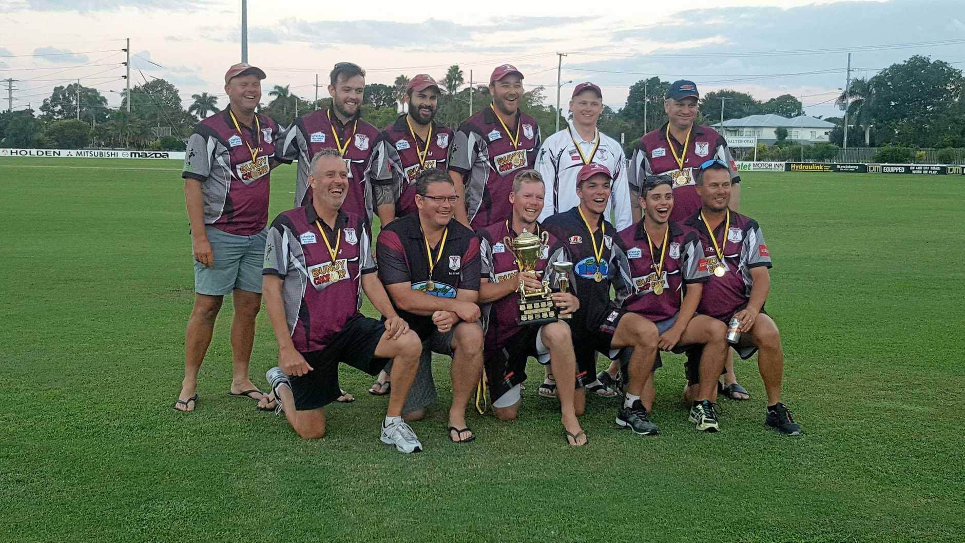 CELEBRATE: Norths celebrate winning the division 1 Bundaberg cricket title last season against The Waves.