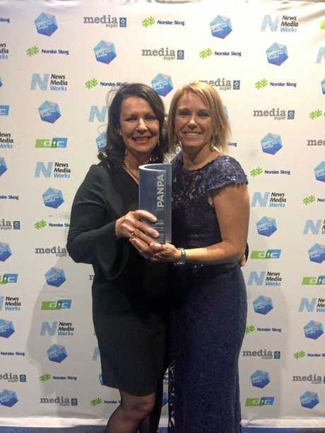 The Gympie Times editor Shelley Strachan and photographer Renee Albrecht were proud to accept the PANPA Community Newspaper of the Year Award in Sydney on Wednesday.