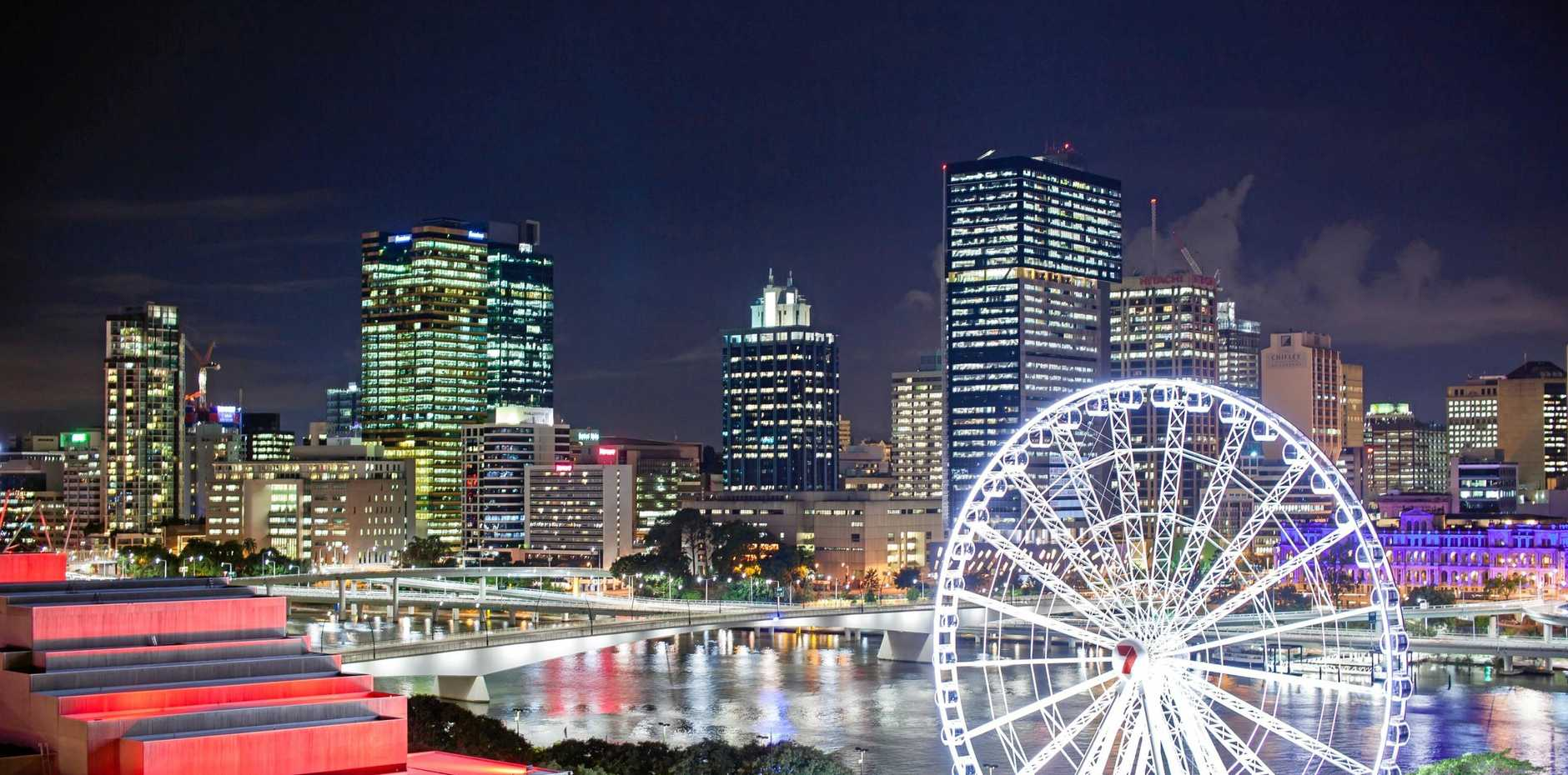 The views from the north-east balconies of Rydges South Bank are stunning at night time, looking out on to an illuminated cityscape and the Brisbane River.