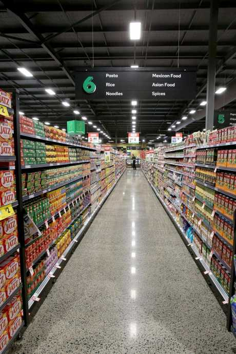 One of the wide aisles at the new Woolworths Racecourse Village at Ascot. Picture: Steve Pohlner/AAP