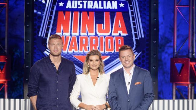 Hosts of Australian Ninja Warrior — Andrew Flintoff, Rebecca Maddern and Ben Fordham. Picture: Channel 9