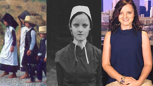 Emma Gingerich (left) as a child, (centre) as a teenager before her escape and (right) as an adult in the modern world.