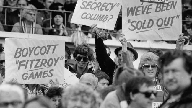Foostcray fans protest the merger. Bulldog fans felt their club was being hijacked by the inner-city silverspooners.
