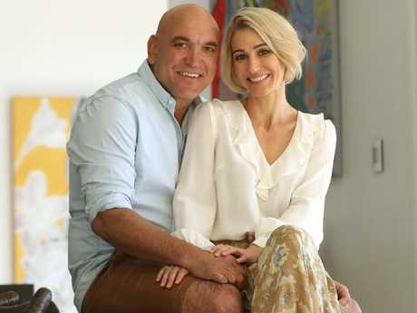 Gorden Tallis with the new love of his life Jemma Elder at his home in Brisbane's inner west. Picture: Lyndon Mechielsen/The Australian