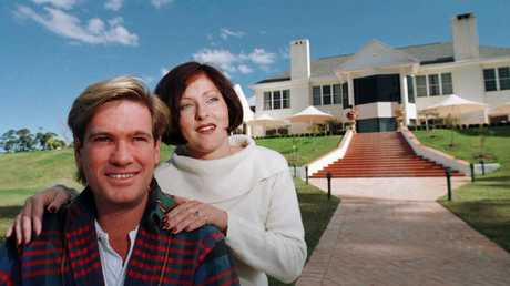 """Simon Gallaher and wife Lisa in the early days of their marriage. Gallaher spoke of Lisa being """"the love of his love"""" while having a shot at her brother, Todd McKenney, on social media."""