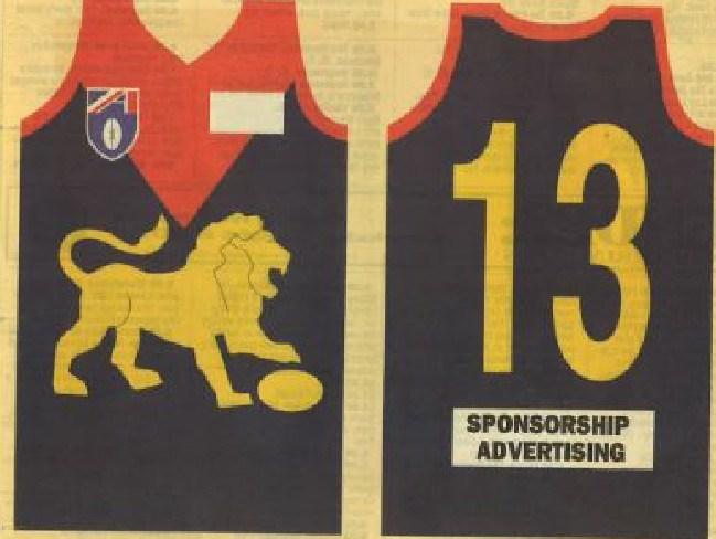 A Herald Sun mock up of a potential Melbourne Lions jumper.