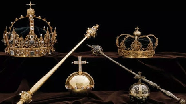 The Swedish Royal Family's crown jewels have been stolen from a cathedral and the culprit has fled on a boat. Picture: POLICE HANDOUT