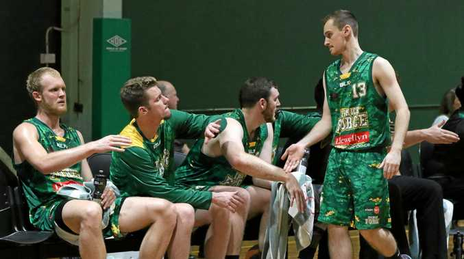 The Ipswich Force bench provides plenty of positive encouragement during a Queensland Basketball League game at Llewellyn Stadium this season.