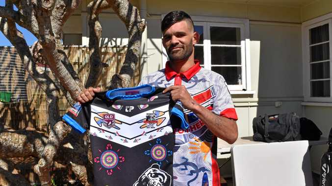 PRIDE ON THE LINE: Chris Oliver unveils the Oakey Bears indigenous jersey to be worn tomorrow against Goondiwindi.